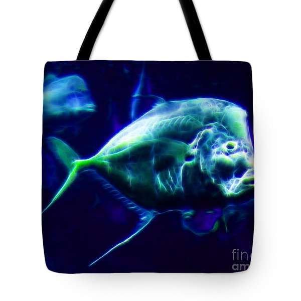 Big Fish Small Fish - Electric Tote Bag by Wingsdomain Art and Photography