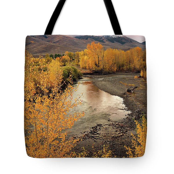 Big Lost River In Autumn Tote Bag by Leland D Howard