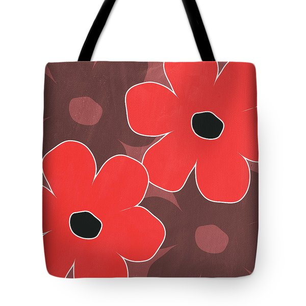Big Red And Marsala Flowers Tote Bag by Linda Woods