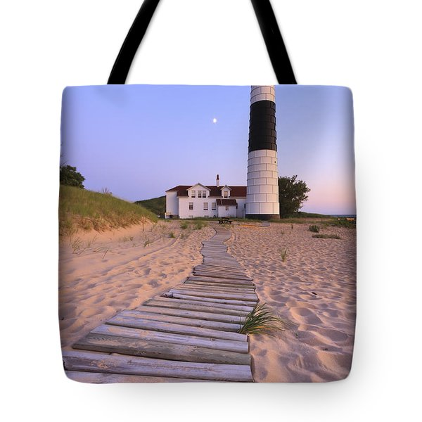 Big Sable Point Lighthouse Tote Bag by Adam Romanowicz