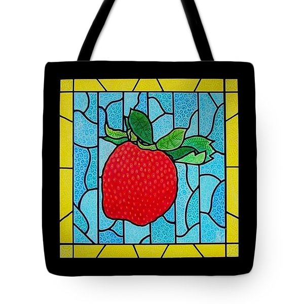 Big Stained Glass Strawberry Tote Bag by Jim Harris