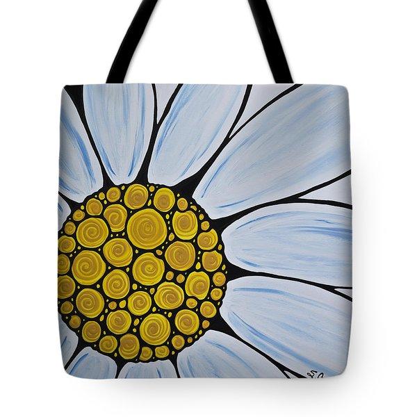Big White Daisy Tote Bag by Sharon Cummings