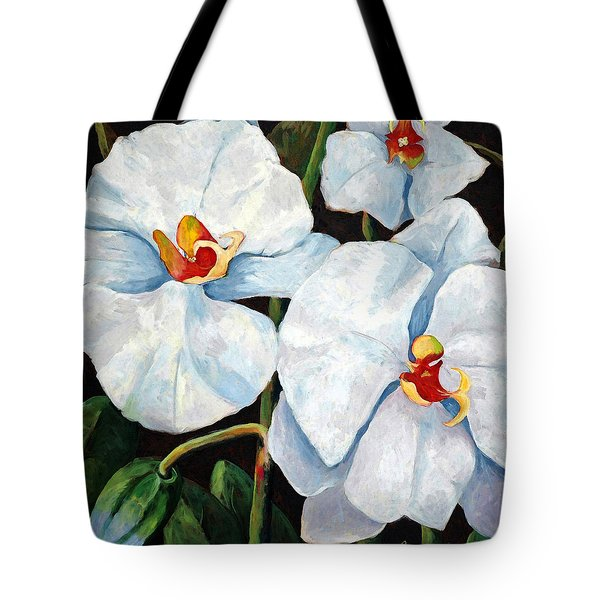 Big White Orchids - Floral Art By Betty Cummings Tote Bag by Betty Cummings