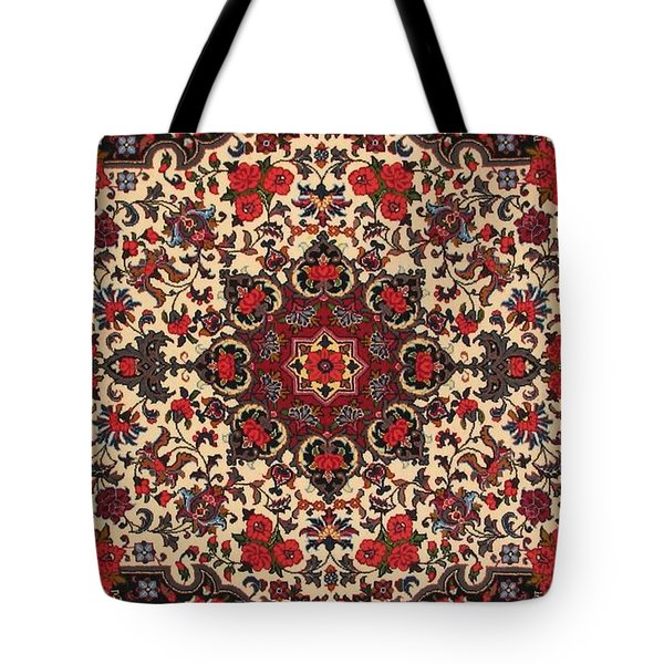 Bijar Red And Cream Silk Carpet Persian Art Poster Tote Bag by Persian Art