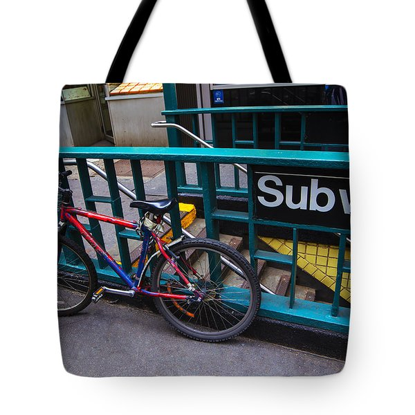 Bike at subway entrance Tote Bag by Garry Gay