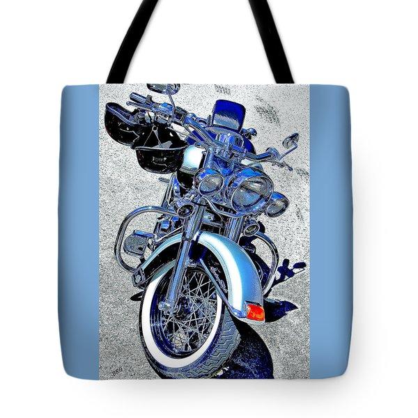 Bike In Blue For Two Tote Bag by Ben and Raisa Gertsberg