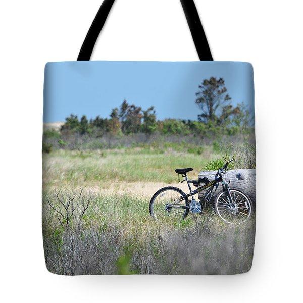 Bike in the Dunes - East Hampton Tote Bag by adspice studios