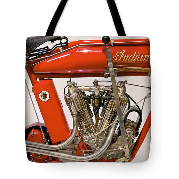 Bike - Motorcycle - Indian Motorcycle engine Tote Bag by Mike Savad