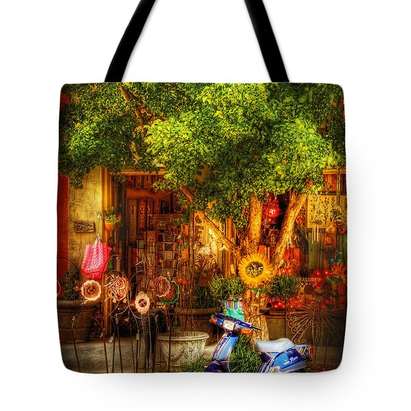 Bike - Scooter - Sitting Amongst Urban Flowers Tote Bag by Mike Savad