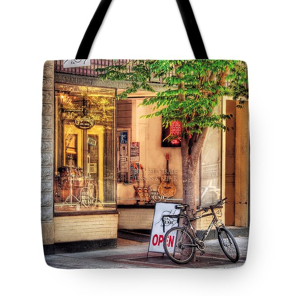 Bike - The Music Store Tote Bag by Mike Savad