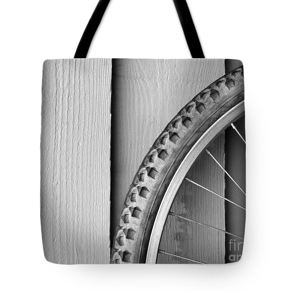 Bike Wheel Black and White Tote Bag by Tim Hester