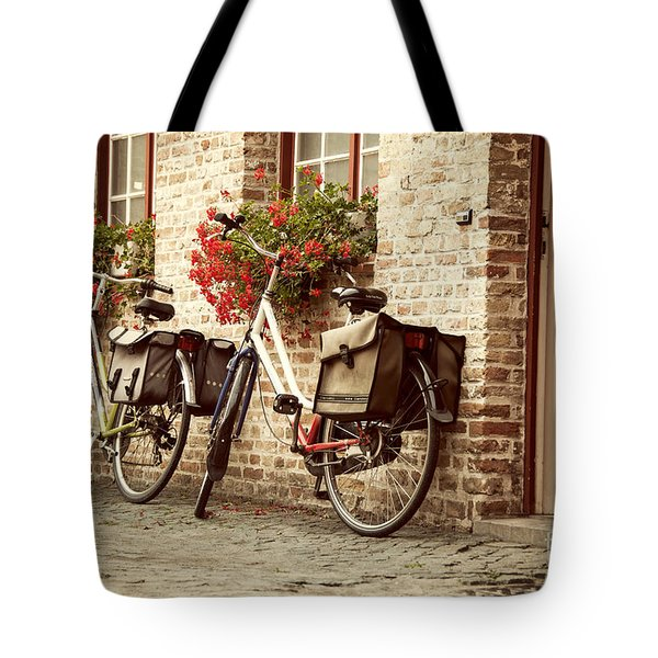Bikes In The School Yard Tote Bag by Juli Scalzi