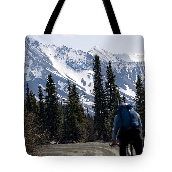 Biking Denali Style Tote Bag by Tara Lynn
