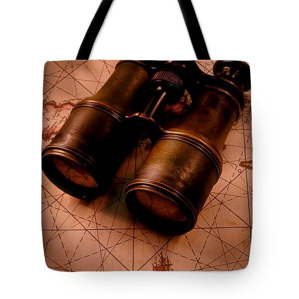 Binoculars On Old Map Tote Bag by Garry Gay