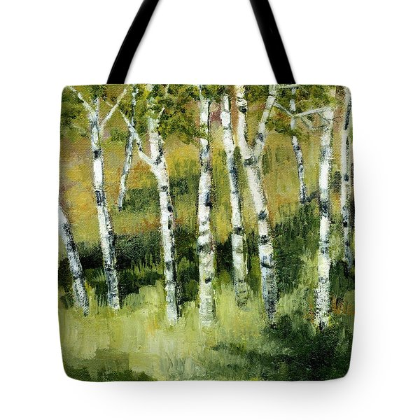 Birches on a Hill Tote Bag by Michelle Calkins