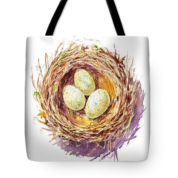 Bird Nest A Happy Trio Tote Bag by Irina Sztukowski