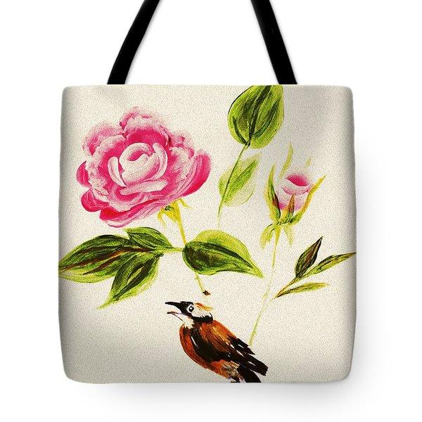 Bird On A Flower Tote Bag by Anastasiya Malakhova