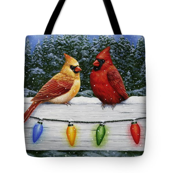 Bird Painting - Christmas Cardinals Tote Bag by Crista Forest