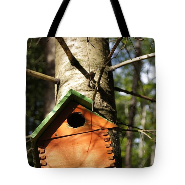 Birdhouse By Line Gagne Tote Bag by Line Gagne