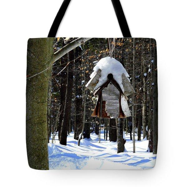 Birdhouse In Winter Tote Bag by Avis  Noelle