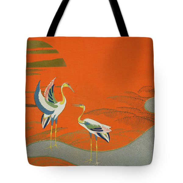 Birds At Sunset On The Lake Tote Bag by Kamisaka Sekka