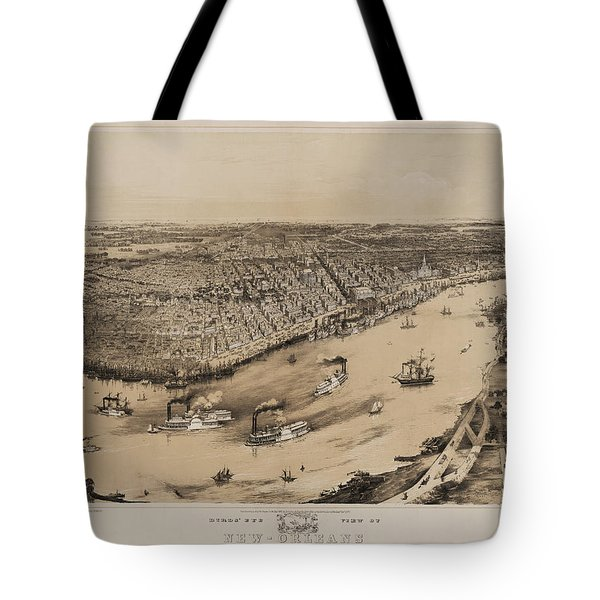 Birds Eye View Of New Orleans 1852 Tote Bag by Digital Reproductions