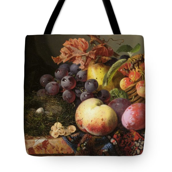 Birds Nest Butterfly And Fruit Basket Tote Bag by Edward Ladell