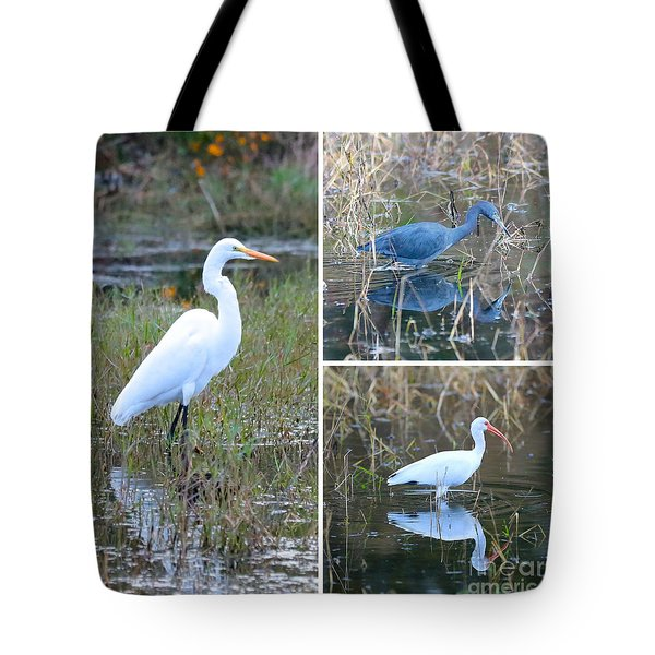 Birds On Pond Collage Tote Bag by Carol Groenen