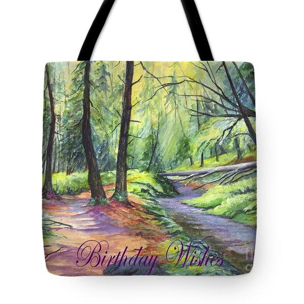 Birthday Wishes-a Woodland Path Tote Bag by Carol Wisniewski