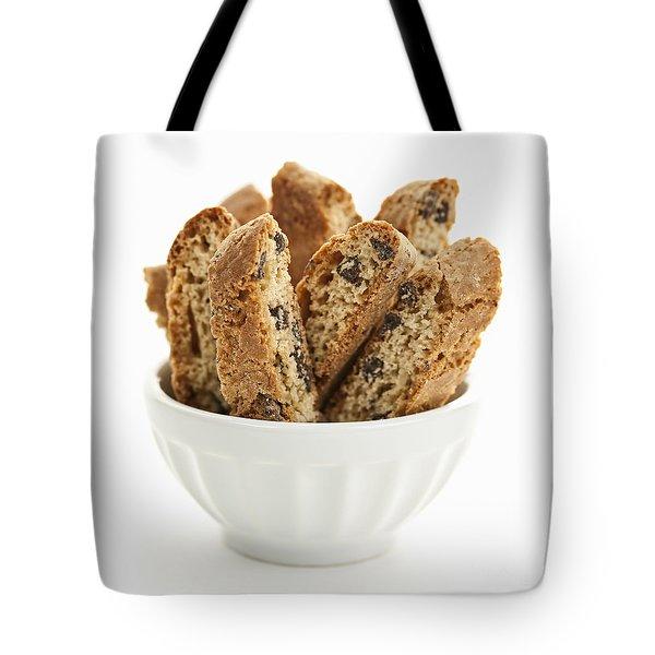 Biscotti cookies in bowl Tote Bag by Elena Elisseeva