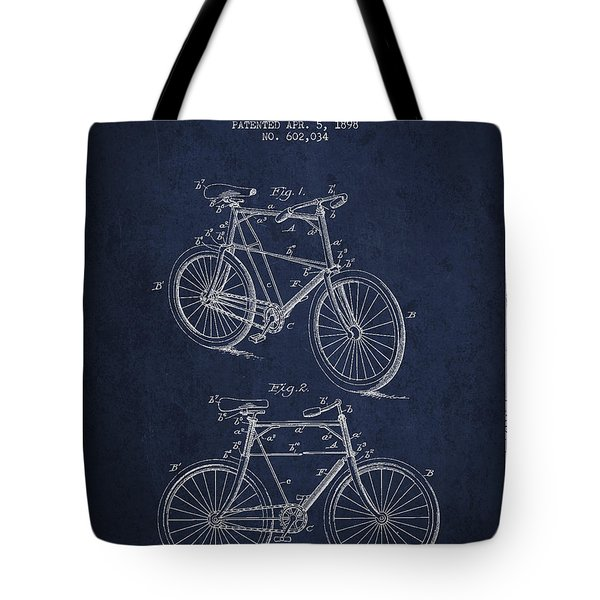 Bisycle Patent Drawing From 1898 Tote Bag by Aged Pixel