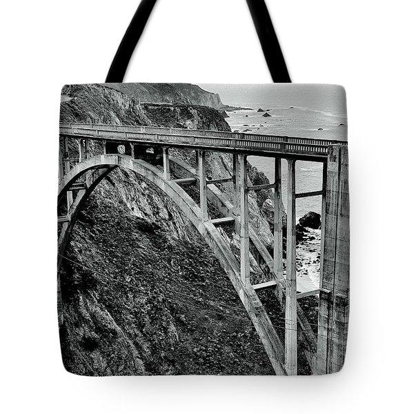 Bixby Creek Bridge Black And White Tote Bag by Benjamin Yeager