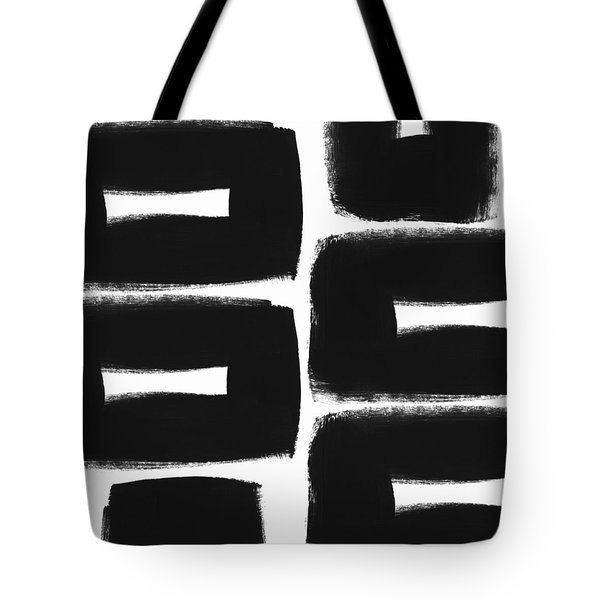 Black And White Abstract- Abstract Painting Tote Bag by Linda Woods
