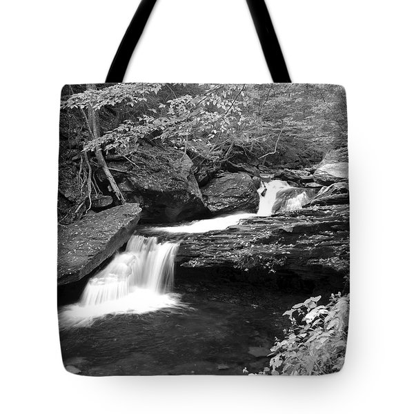 Black And White Cascade Tote Bag by Frozen in Time Fine Art Photography