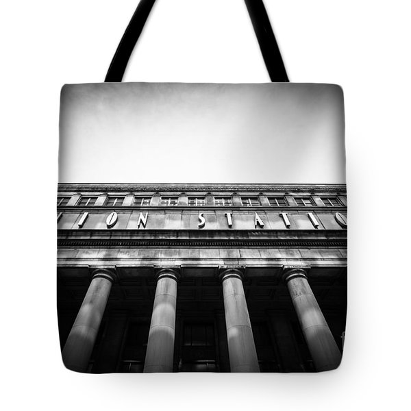 Black And White Chicago Union Station Tote Bag by Paul Velgos
