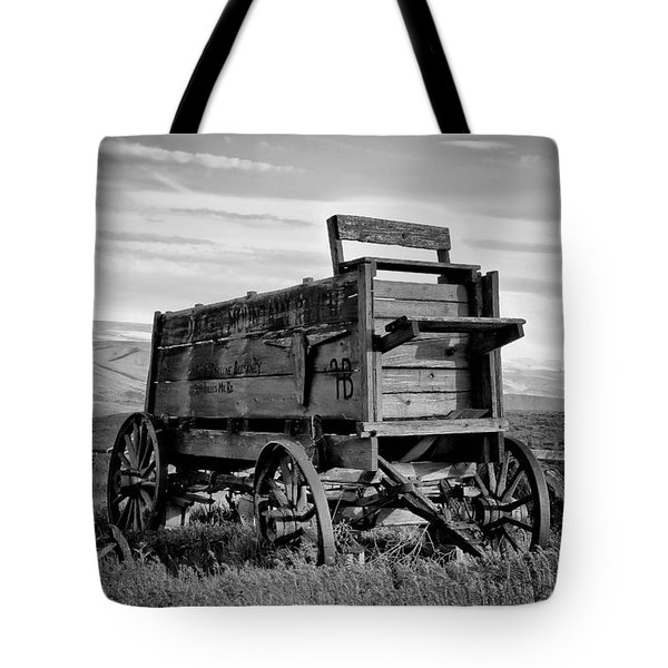 Black And White Covered Wagon Tote Bag by Athena Mckinzie