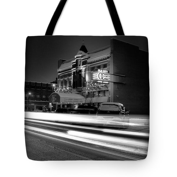 Black And White Light Painting Old City Prime Tote Bag by Dan Sproul