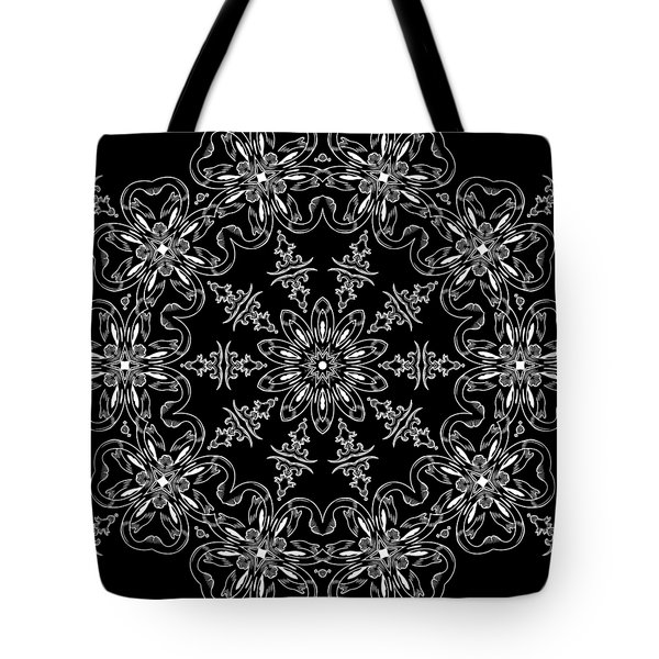 Black And White Medallion 11 Tote Bag by Angelina Vick