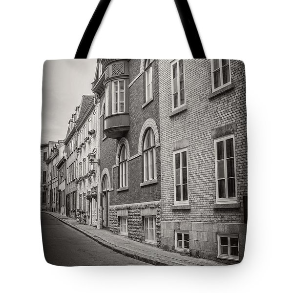 Black And White Old Style Photo Of Old Quebec City Tote Bag by Edward Fielding