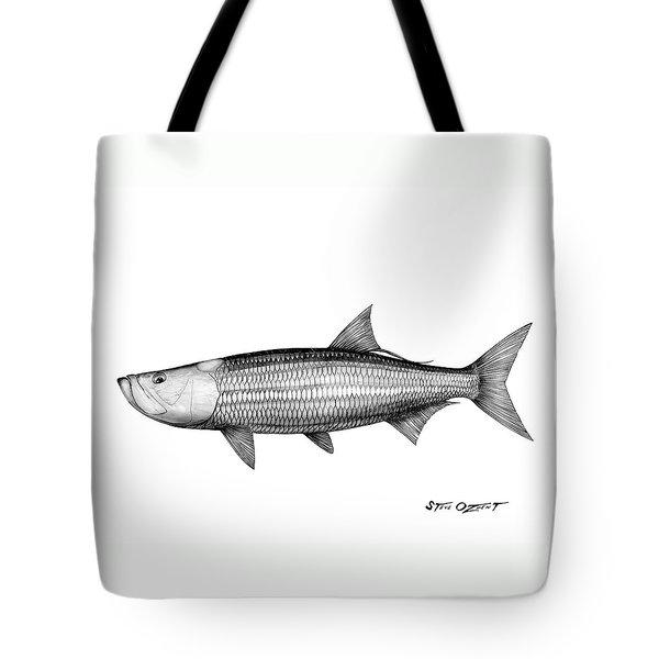 Black And White Tarpon Tote Bag by Steve Ozment