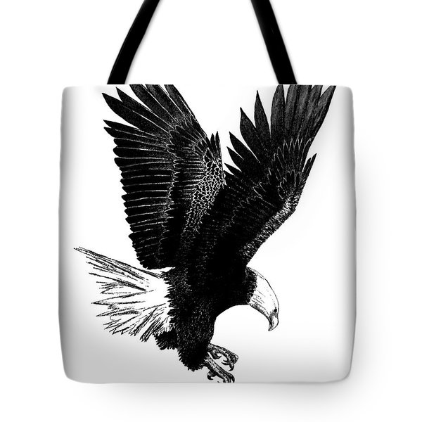 Black and White with Pen and Ink drawing of American Bald Eagle  Tote Bag by Mario  Perez