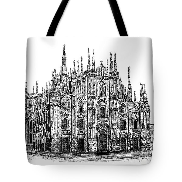 Black And White With Pen And Ink Drawing Of Milan Cathedral  Tote Bag by Mario Perez