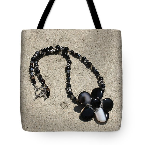 Black Banded Onyx Wire Wrapped Flower Pendant Necklace 3634 Tote Bag by Teresa Mucha