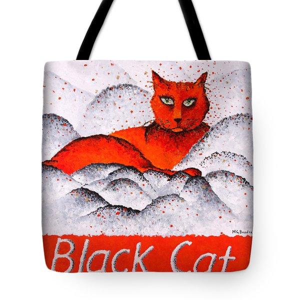 Black Cat Orange Tote Bag by Michelle Boudreaux