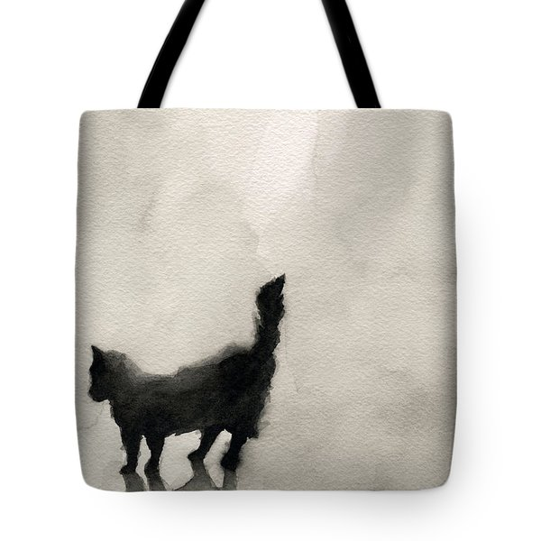 Black Cat Watercolor Painting Tote Bag by Beverly Brown Prints