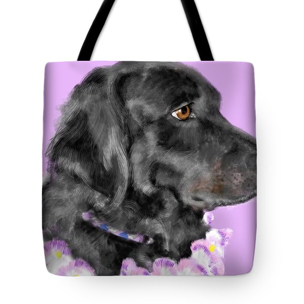 Black Dog Pretty In Lavender Tote Bag by Lois Ivancin Tavaf
