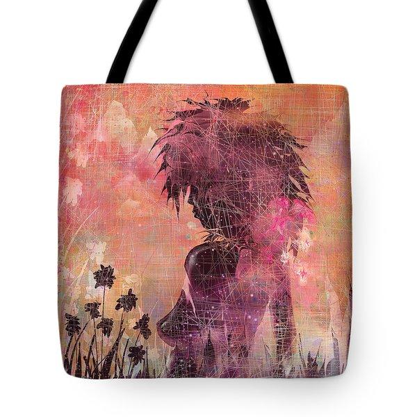 Black Flower Tote Bag by Rachel Christine Nowicki
