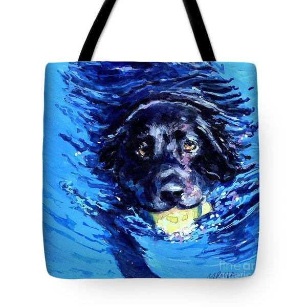 Black Lab  Blue Wake Tote Bag by Molly Poole