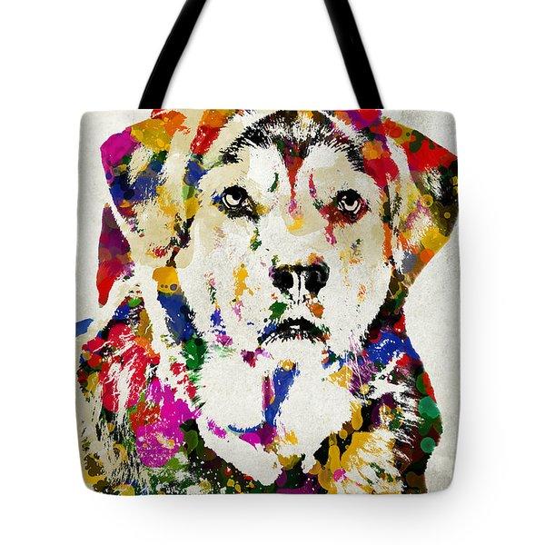 Black Lab Watercolor Art Tote Bag by Christina Rollo