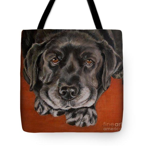 Black Labrador Rests Head Rescue Dog Tote Bag by Amy Reges